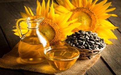 Biologische zonnebloemolie